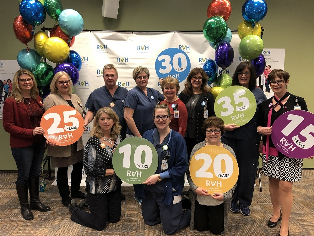 RVH Staff pose for a group celebrating years of service