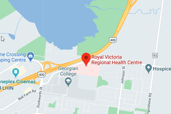 Map showing the location of Royal Victoria Regional Health Centre