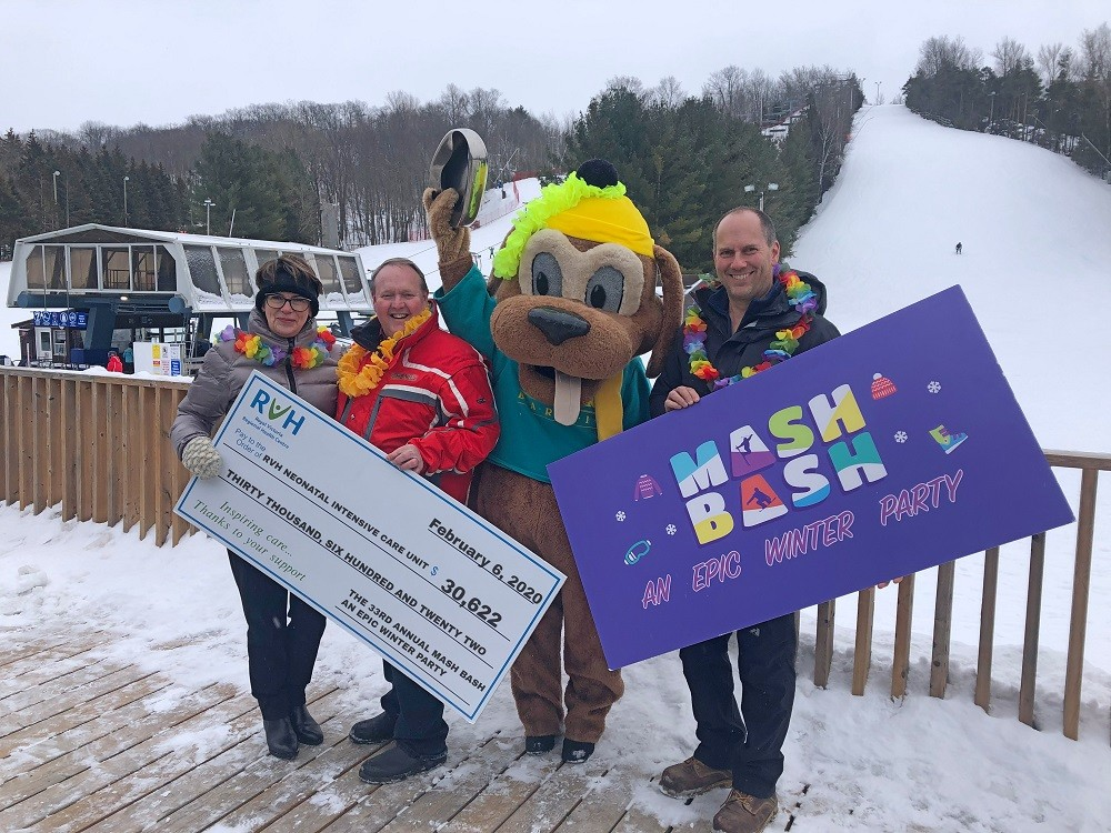 Photo with special guests at Snow Valley Ski Resort for the official Mash Bash cheque presentation.