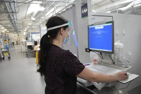 Nurse inside Pandemic Response Unit