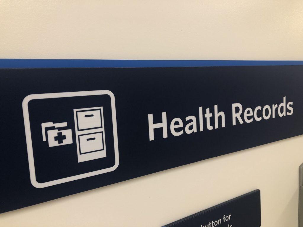 Health Records entrance sign