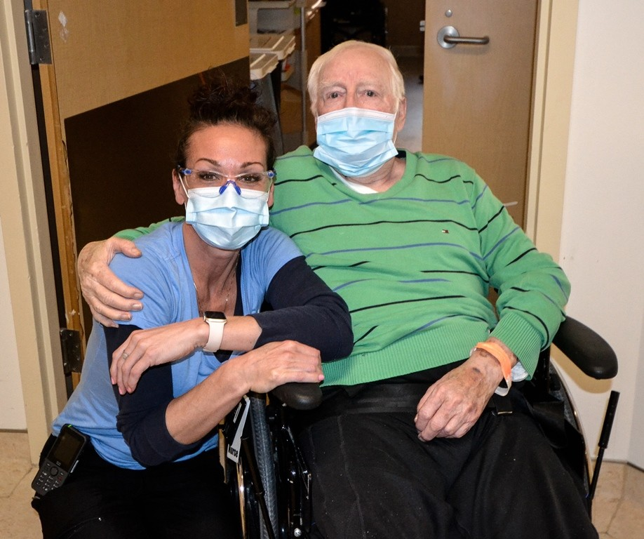 Josee Hill, RPN and patient Tom Culyer